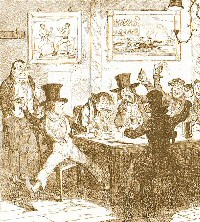 Sepia image of drinkers