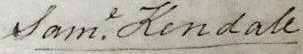 Signature of Samuel Kendall